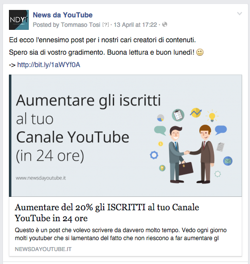 condividere video youtube su facebook anteprima grande