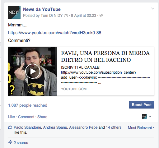 condividere video youtube su facebook